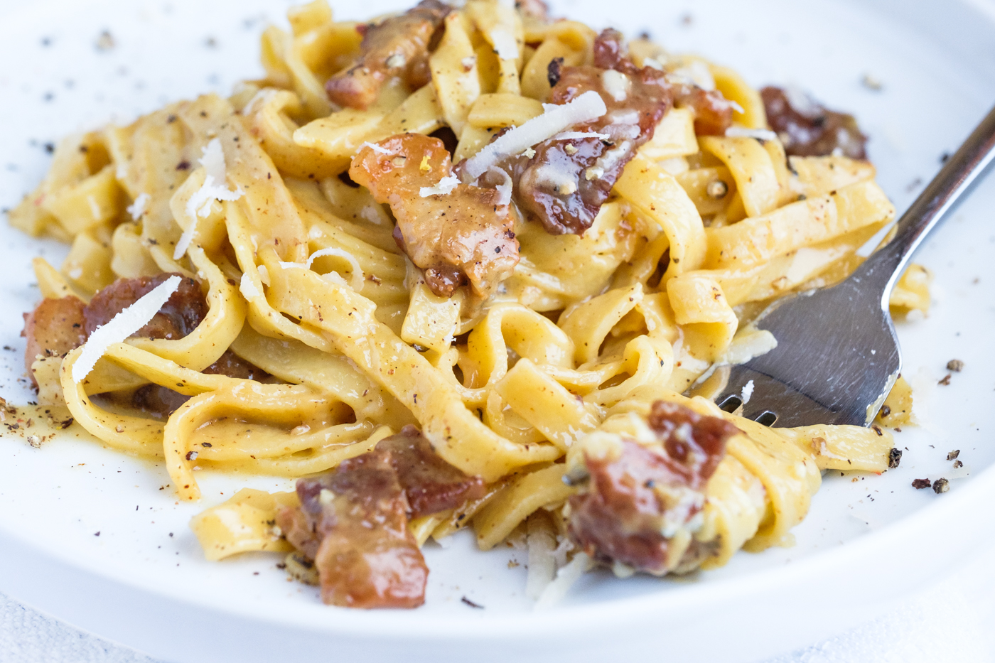 Grain-Free Fettuccine Carbonara. This one is made with fresh pork belly.
