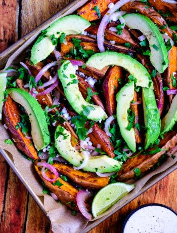 Loaded Sweet Potato Wedges with Avocado and Horseradish Aioli