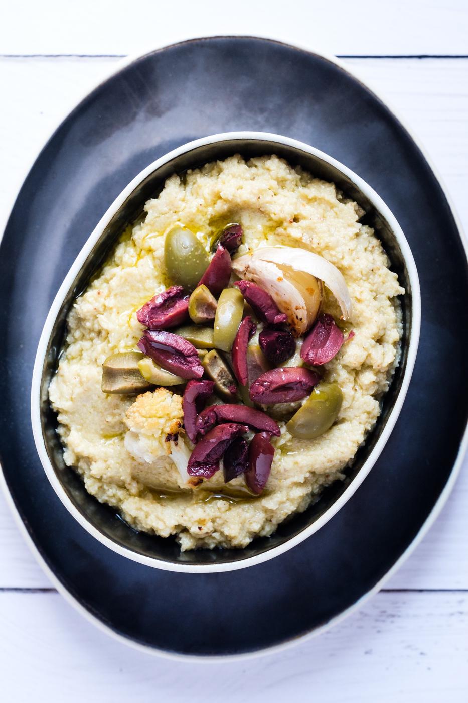 Cauliflower and Artichoke Hummus with Roasted Garlic
