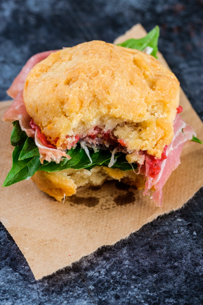 Brazilian cheese bread can be used as a delicious sandwich