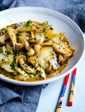 Mushrooms and Napa Cabbage Miso Stir-Fry