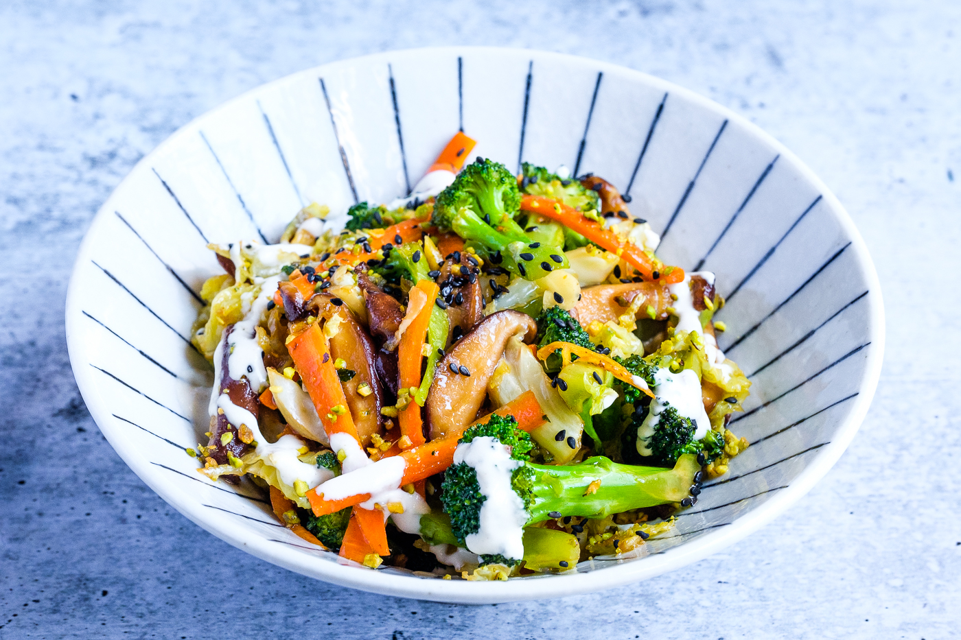 Crunchy Stir-Fry With Tahini Sauce served in a bowl