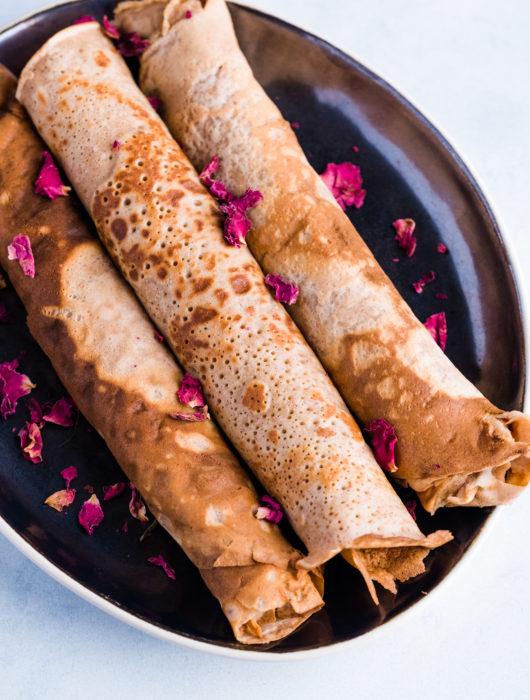 Chestnut Crepes with Rose Water and Wild Blueberries