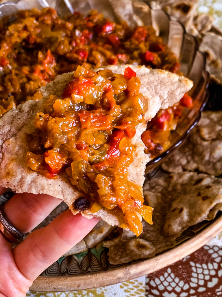 Zacusca served with cassava tortillas