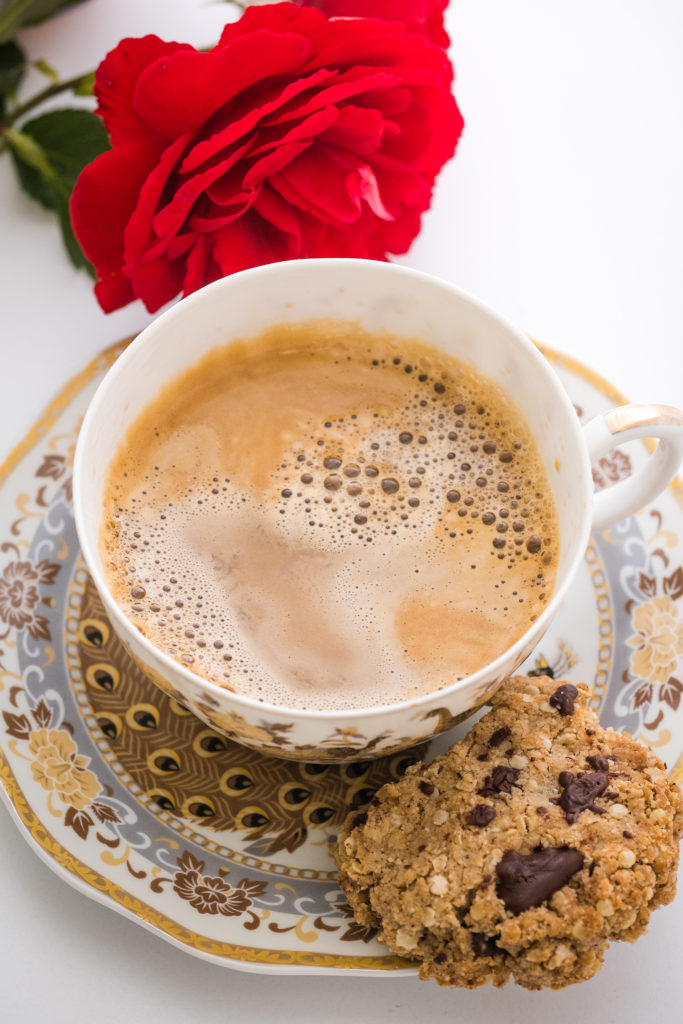 Lectin-free chocolate chip cookie with a cup of coffee
