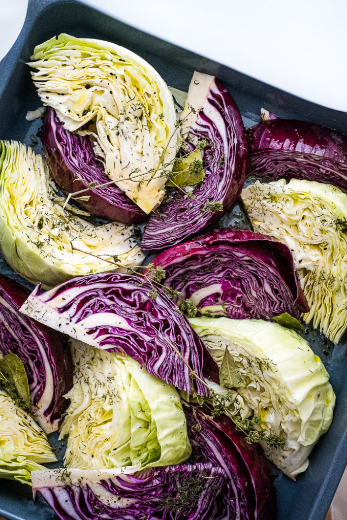 Cabbage in wedges looks beautiful