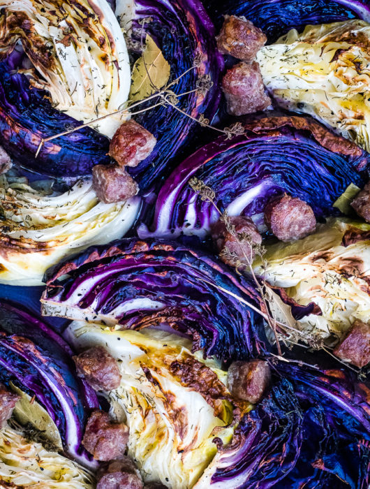Roasted Cabbage Wedges with Smoked Pork Sausage