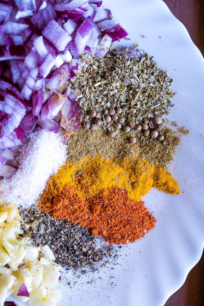 Spices and aromatics for the burrito bowl