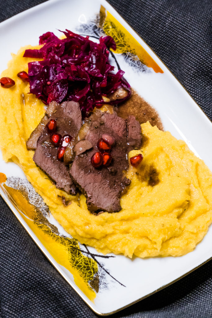 The cauliflower and root vegetable puree served with duck breast